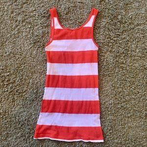 Orange & White Striped Tank Top Beach Wear Summer